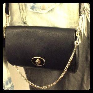 COACH Pebbled Leather Crossbody w/ Chain Wristlet